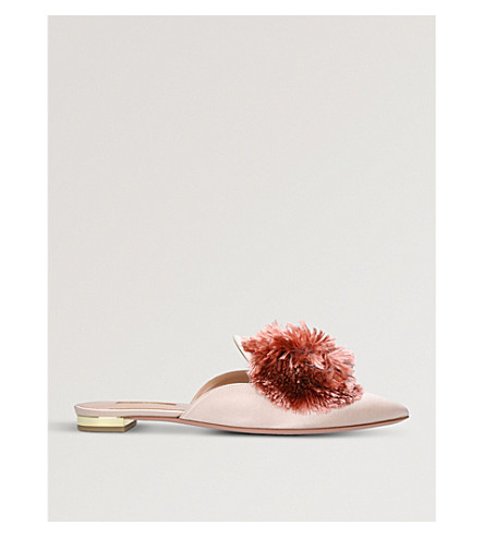 AQUAZZURA Powder Puff satin mules (Pink
