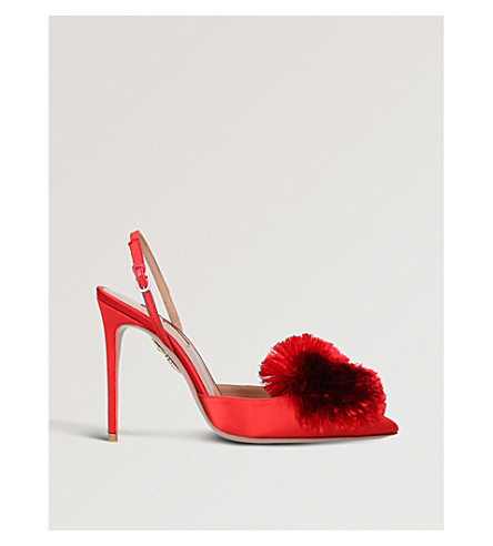 AQUAZZURA Powder Puff 105 satin slingback courts (Red