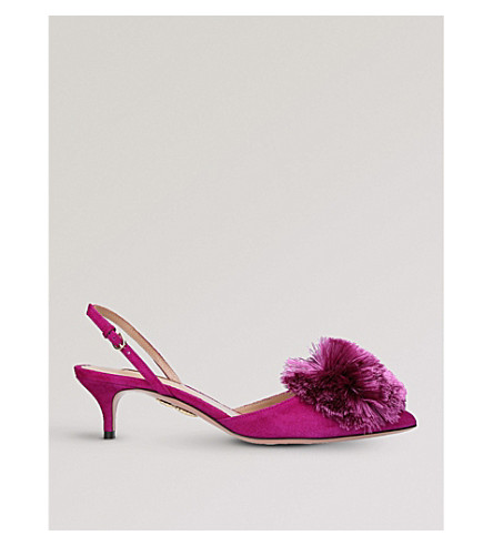 AQUAZZURA Powder Puff 45 suede slingback courts (Purple