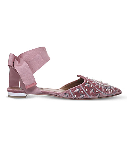 AQUAZZURA Stellar flat velvet and leather flats (Pale+pink