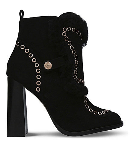 SOPHIA WEBSTER Karina suede heeled ankle boots (Black
