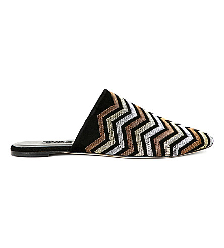 SOBE Zigzag-embroidered suede mules (Black/comb