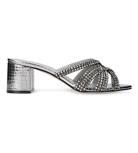 GINA Dexie jewel-embellished leather mules (Gunmetal