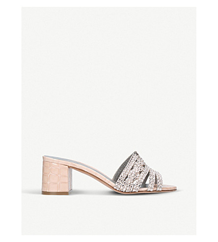 GINA Visage jewel-embellished leather mules (Pale+pink