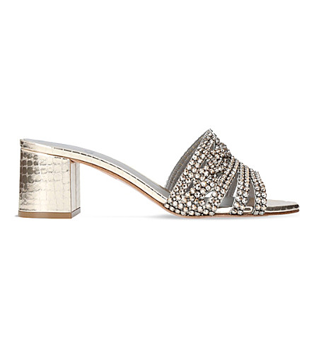 GINA Visage jewel-embellished leather mules (Silver+com