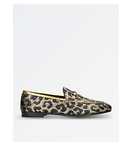 GUCCI New Jordaan leopard-jacquard loafers (Tan+comb
