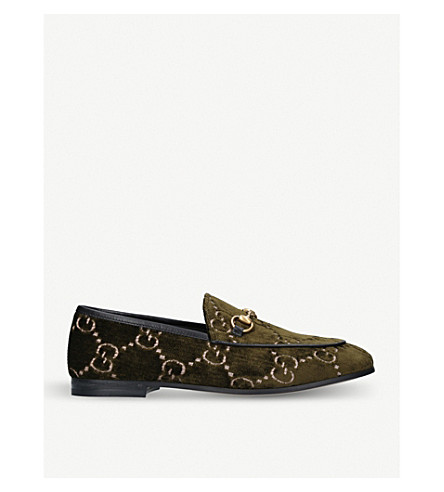 GUCCI New Jordaan chain fabric loafers (Khaki
