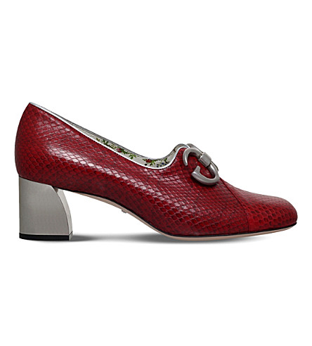 GUCCI Biba snake-effect leather pumps (Red