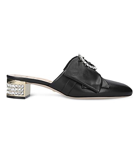 GUCCI 糖果蝴蝶结和水晶装饰革穆勒鞋 (黑色