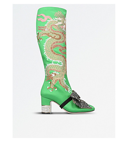 GUCCI Candy Dragon embroidered satin knee-high boots (Green