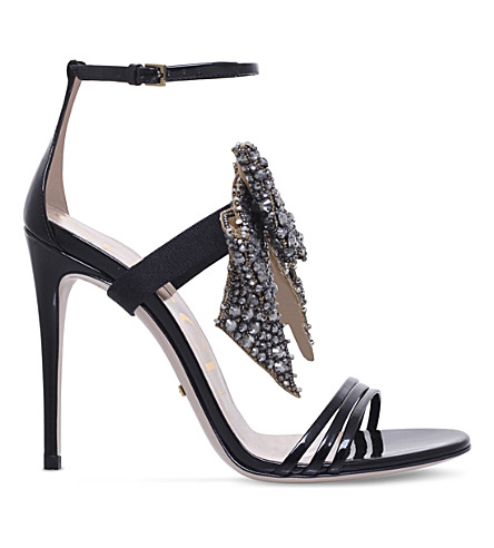 GUCCI Ilse embellished patent-leather sandals (Black