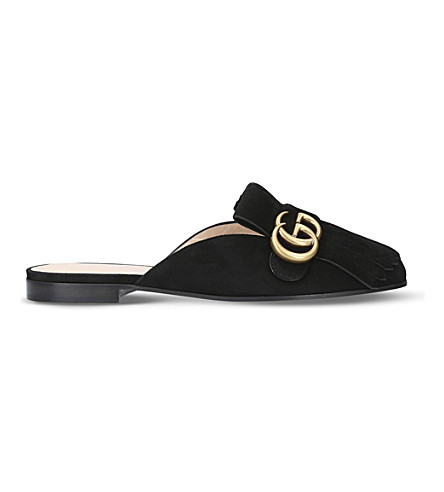 GUCCI Marmont suede slippers (Black