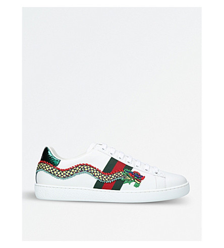 GUCCI New ace leather embroidered trainers (White/oth