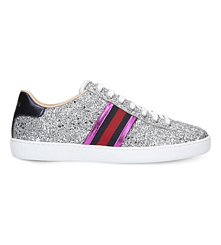 GUCCI New Ace striped glitter trainers (Silver