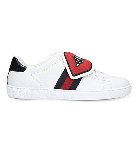 GUCCI New Ace mouth and cloud leather trainers (White/oth