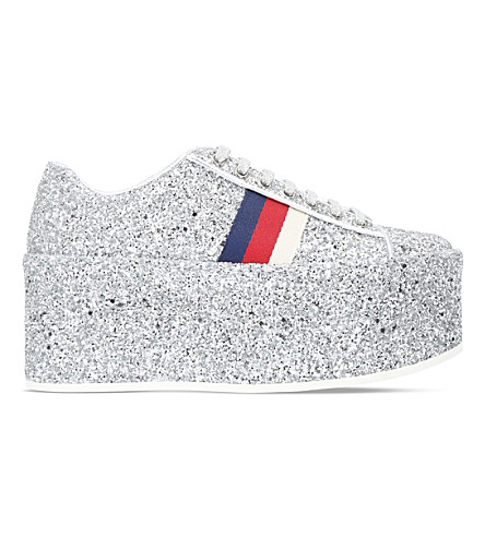 GUCCI Peggy glitter platform trainers (Silver