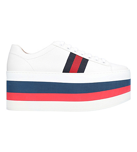 GUCCI Peggy leather platform trainers (White/oth