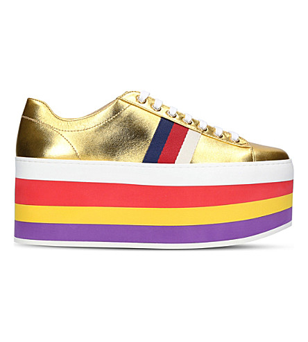 GUCCI Peggy leather platform trainers (Gold