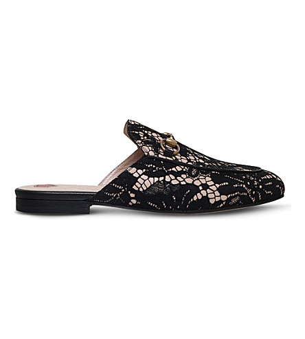 GUCCI Princetown lace slippers (Black