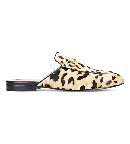 GUCCI Princetown leopard calf-hair slippers (Beige+comb