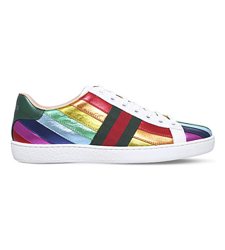 GUCCI New Ace rainbow leather sneakers (Mult/other