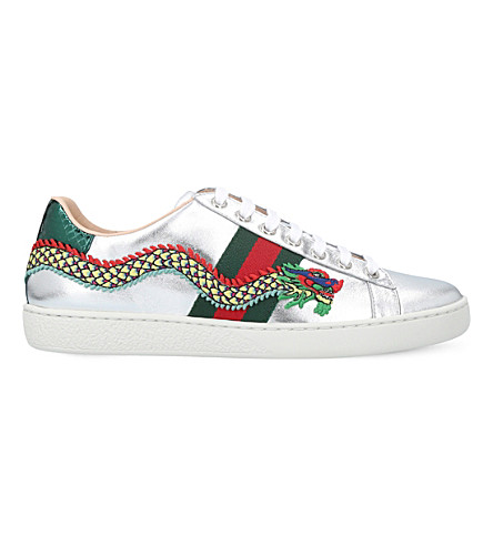 GUCCI New Ace dragon-embellished leather trainers (Silver