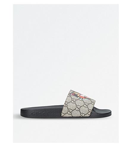 GUCCI Pursuit cat-print canvas slider sandals (Beige+comb