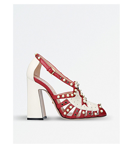 GUCCI Tracy embellished leather sandals (Red+comb