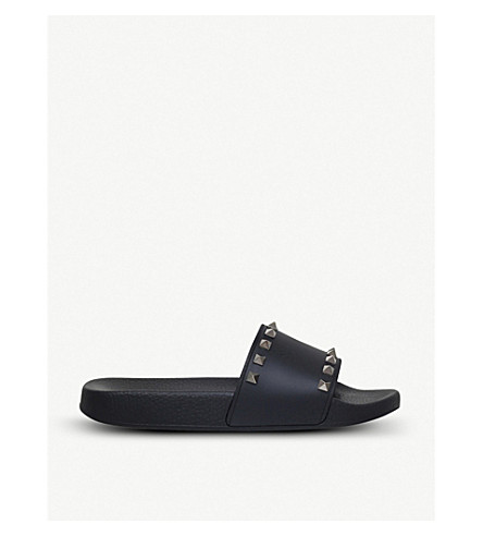 VALENTINO Rockstud rubber slider sandals (Black