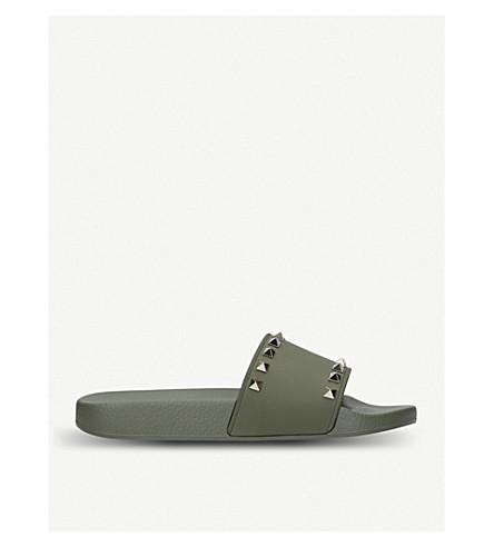 VALENTINO Rockstud rubber slider sandals (Khaki