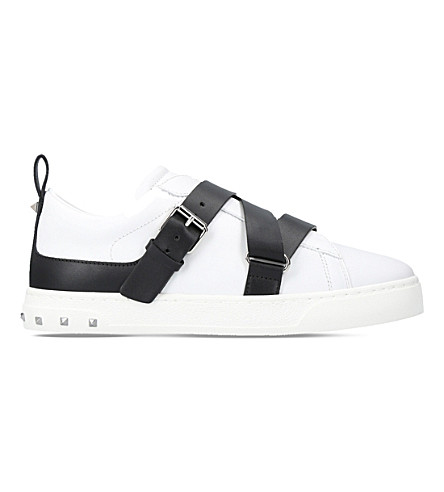 VALENTINO V-Punk leather low-top trainers (White/blk