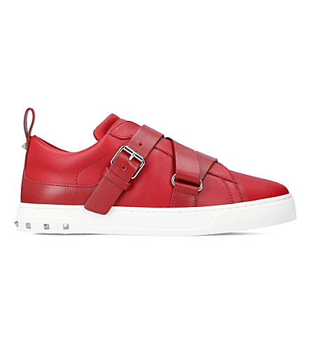 VALENTINO V-Punk leather low-top trainers (Red