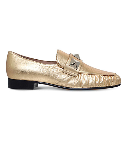 VALENTINO Rockstud leather loafers (Gold
