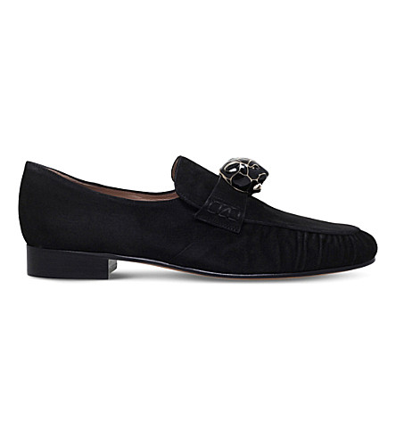 VALENTINO Panther suede loafers (Black