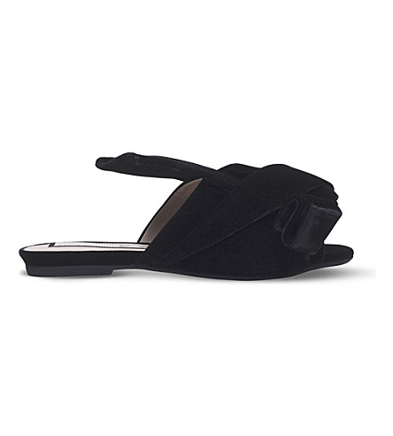 NO 21 Bow velvet slippers (Black