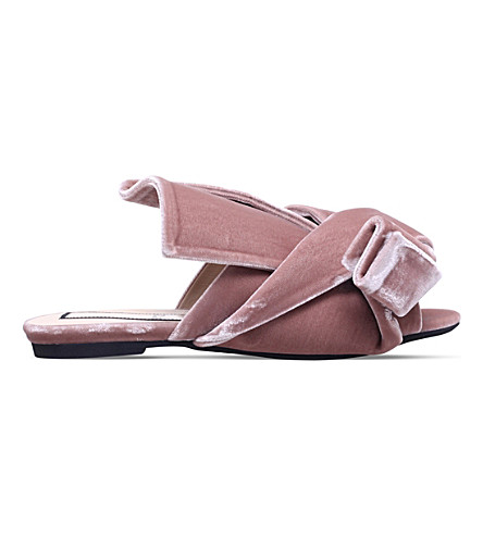 NO 21 Bow velvet slippers (Pale+pink