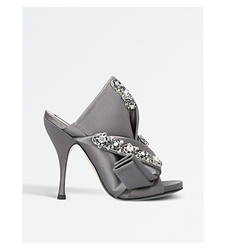 NO 21 Bow-detail satin embellished mules (Grey