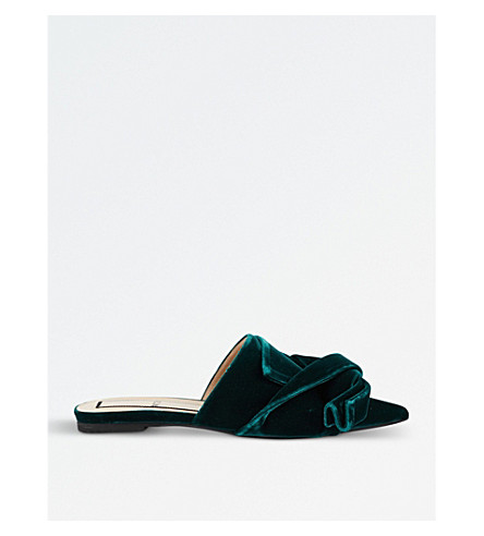 NO 21 Bow velvet backless slides (Dark+green