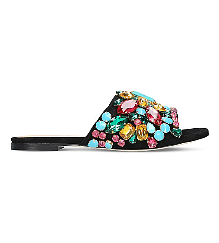 GEDEBE Dafne jewel-embellished velvet slides (Black