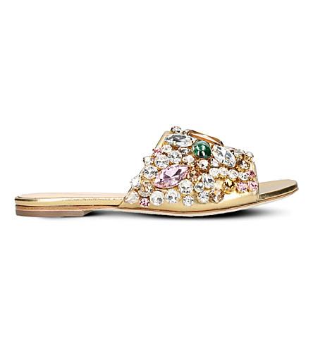 GEDEBE Dafne jewel-embellished leather slides (Gold