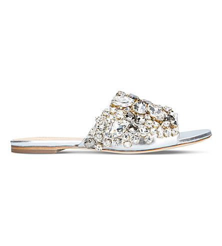 GEDEBE Dafne jewel-embellished leather slides (Silver
