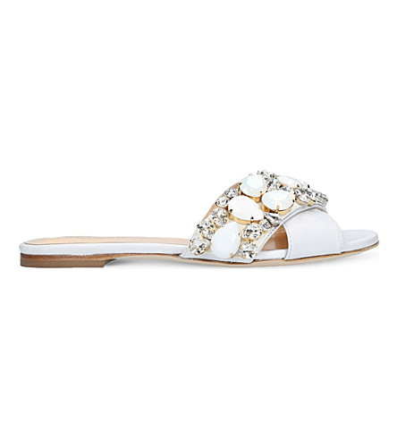 GEDEBE Jackie embellished leather slides (White