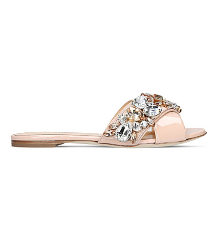 GEDEBE Jackie embellished leather slides (Nude