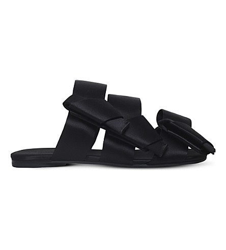 STELLA LUNA Bow backless satin sandals (Black