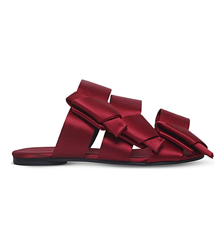 STELLA LUNA Bow backless satin sandals (Red
