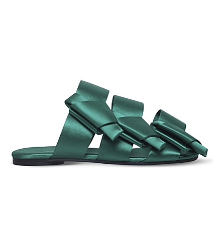 STELLA LUNA Bow backless satin sandals (Green