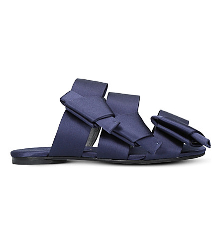 STELLA LUNA Bow backless satin sandals (Navy
