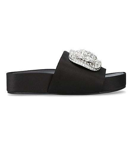 STELLA LUNA Embellished buckle satin slides (Black
