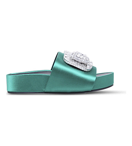 STELLA LUNA Embellished buckle satin slides (Green