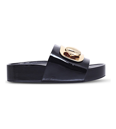 STELLA LUNA Turnlock patent-leather slides (Black